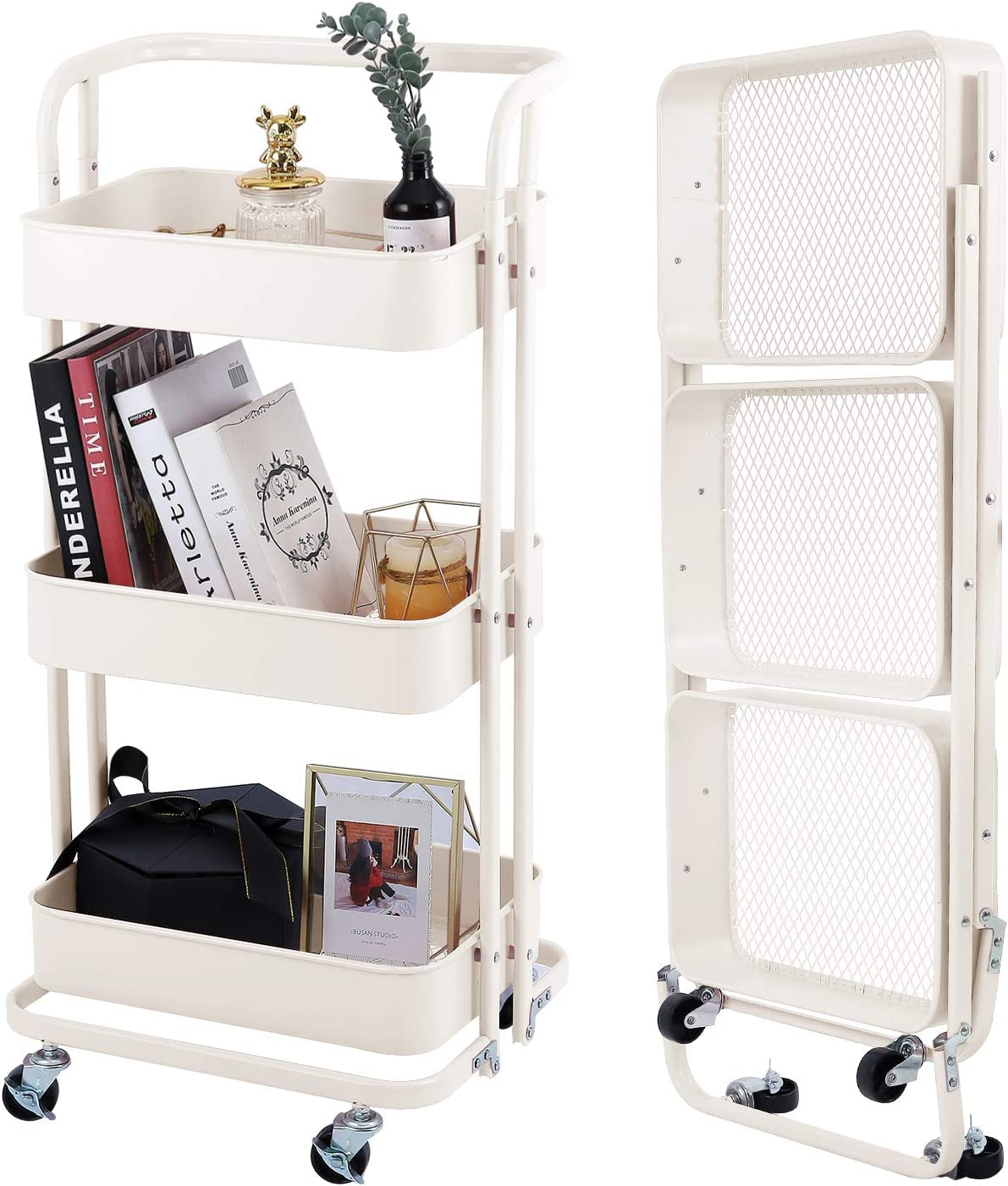 3-Tier Foldable Utility Rolling Cart Multifunction Storage Shelves with Handle and Wheels for Office Kitchen Bathroom Organization,Cream White