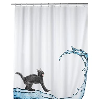 WENKO Anti-Mold Cat Polyester Shower Curtain Multicolor