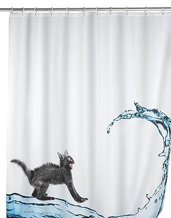 Amazon.com: Wenko 20052100 Anti-Mold Cat Polyester Shower Curtain ...