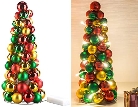 Christbaumkugeln Metall.Miniatur Deko Weihnachtsbaum Aus Metall Mit Farbigen Christbaumkugeln