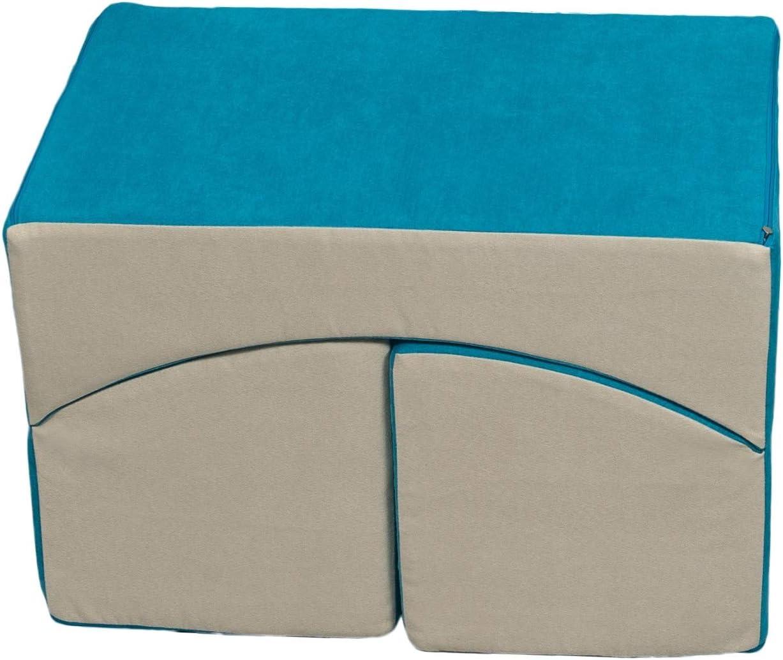 Colore: Beige-Grigio Velinda Poltrona Relax,Pouf,Pieghevole,mobili cameretta Bimbo Giochi