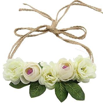 780bf7444f3 Amazon.com   Flower Crown Headband Floral Headpiece - AWAYTR Women Girl Bohemia  Adjustable Tree Rattan Leaf Flower Garland Hair Wreath Wedding photography  ...