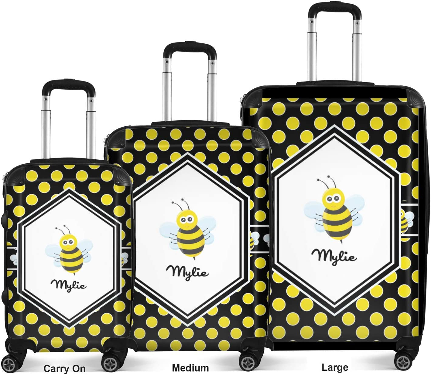 Personalized 24Medium Bee /& Polka Dots Suitcase Checked