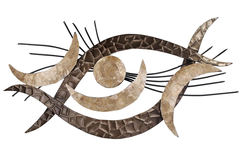 Formano Extravagante Wanddeko aus Metall Metallbild Auge Perlmutt beige 98 x 50 cm B-Ware