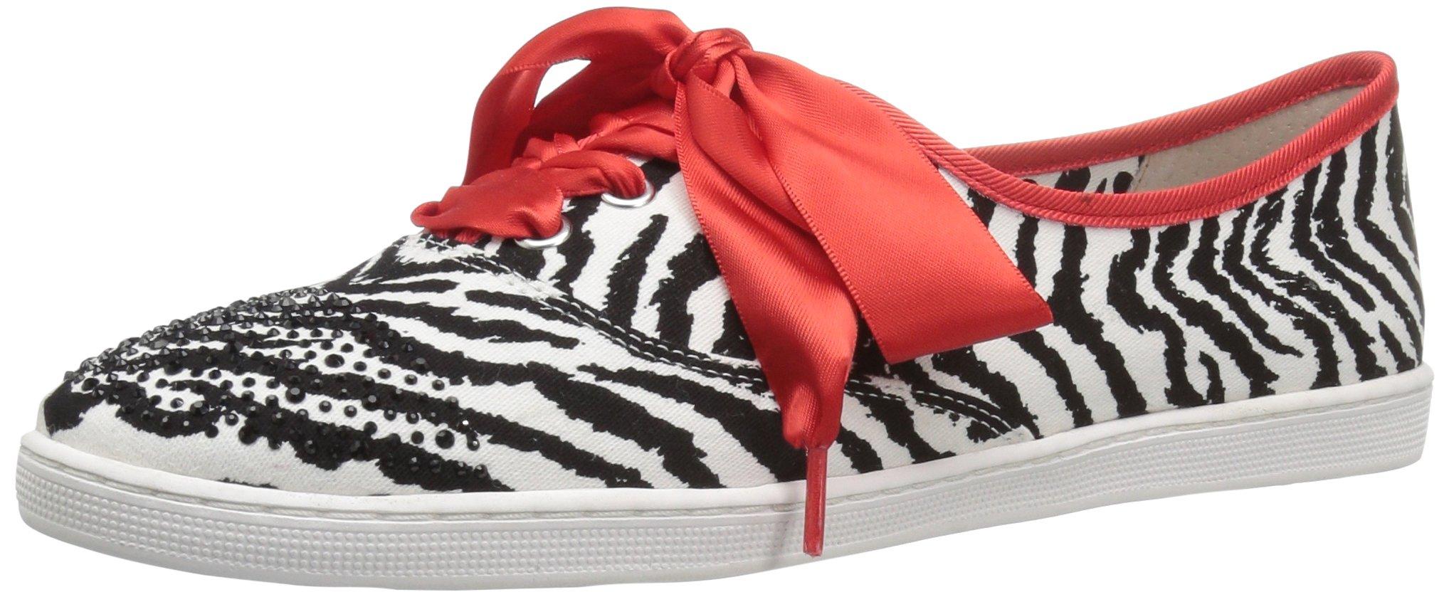 J.Renee Women's Schooner Fashion Sneaker, Black/White, 10 M US