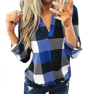 Moda Blusas para Mujer Casual Camisa a Cuadros Manga Larga ...