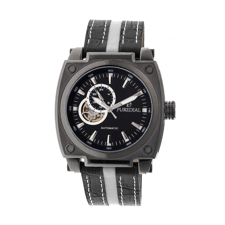 puredial WatchステンレススチールCase and Genuineレザーバンド、自動移動 ブラック/ブルー B079YX36DZブラック/ブルー