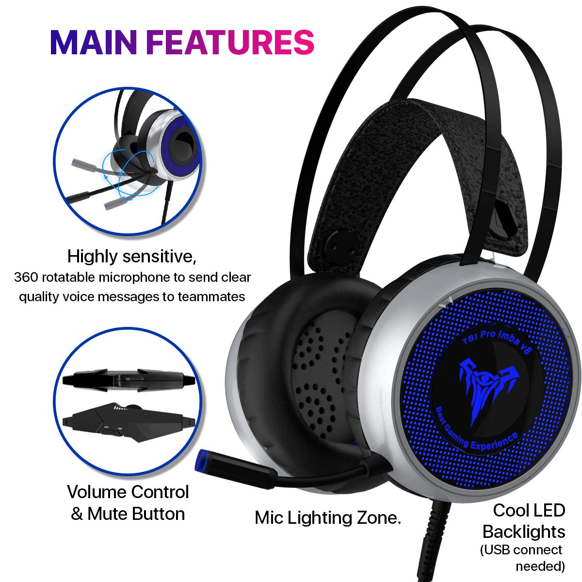 [Newest 2019] Gaming Headset for Xbox One, S, PS4, PC with LED Soft Breathing Earmuffs, Adjustable Microphone, Comfortable Mute & Volume Control, 3.5mm Adapter for Laptop, PS3, Nintendo by TBI Pro (Image #3)