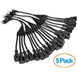 "ClearMax 3 Prong 1-to-4 Power Cord Splitter Cable - Power Extension Cord - Cable Strip Outlet Saver - 16AWG - UL Approved - 18"" Inches (5 Pack 