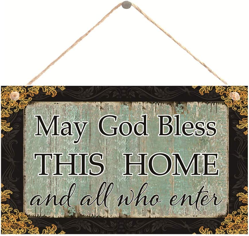 "Meijiafei God Bless Sign-May God Bless This Home Sign Inspirational Plaque 10"" X 6"""