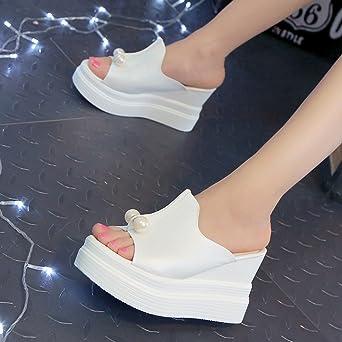 Sandalias Mujer Verano 2018,YiYLinneo Zapatillas De Mujer Fondo Grueso Chanclas Perla Maciza Chancletas Sandalias De Cuña A Prueba De Agua Zapatos: ...