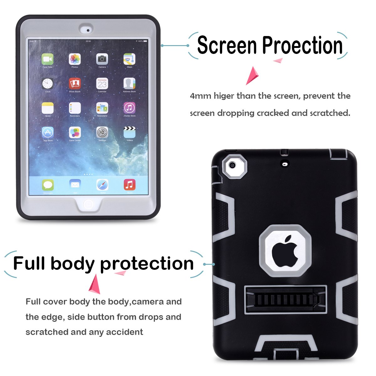 iPad Mini 2 Case iPad Mini Case iPad Mini 3 Case,MAKEIT 3in 1 Heavy Duty Protection Kickstand Combo Hybrid Impact Silicone Hard Case Cover for Apple Ipad Mini 1 2 3 Black//Blue