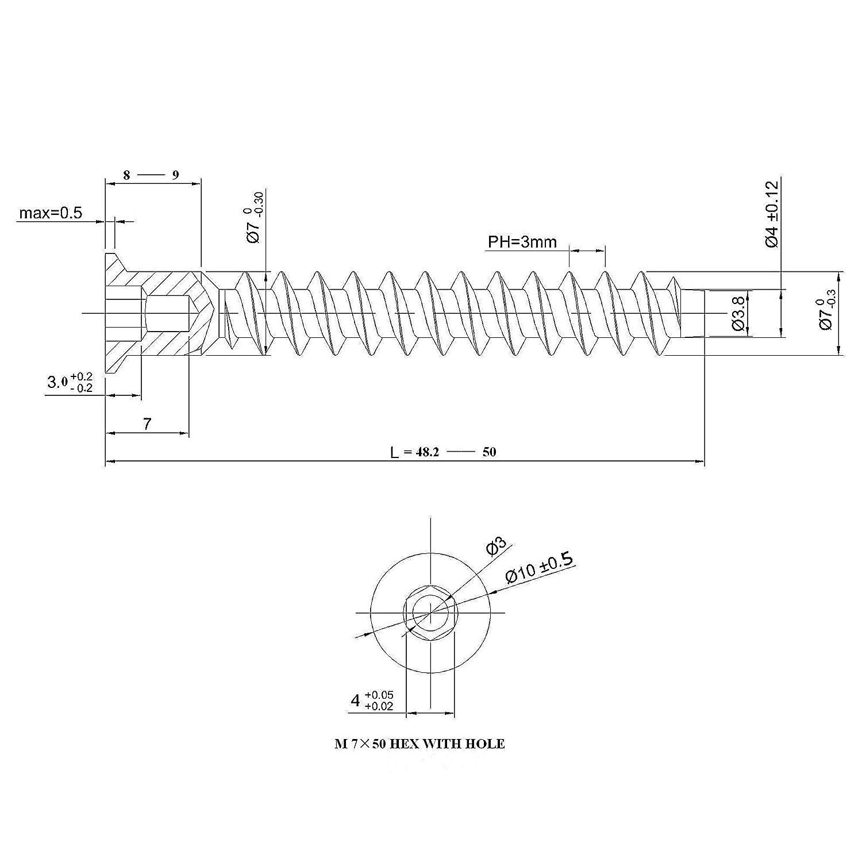 20 St/ück SO-TECH/® Einteilverbinder Eckverbinder Schrauben M/öbelverbindungschraube Schrankverbinderschraube 6,3 x 50 mm Eisen verzinkt Antrieb: Inbus HEX 4