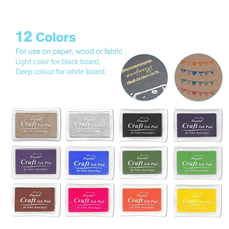 non tossico Baby Safe Ink Pad 15 Colors 15 colori un set di tamponi di inchiostro per uso con qualsiasi gomma Art//Craft timbri