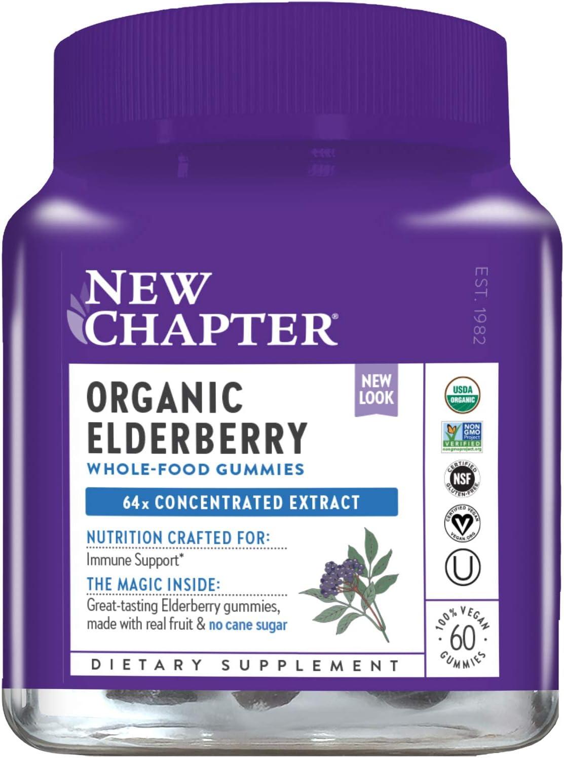 New Chapter Elderberry Gummies - Organic Elderberry Whole-Food Gummies for Immune Support - 60 ct