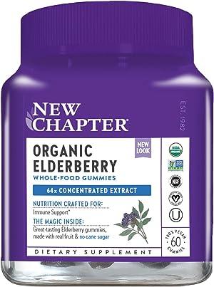 New Chapter Elderberry Gummies - Organic Elderberry Whole-Food Gummies for Immune Support