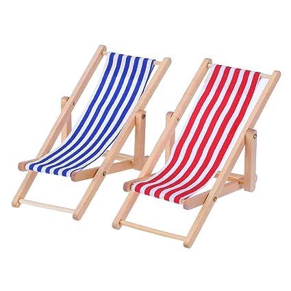 Mini Sdraio Da Spiaggia.Lvcky 2 Pezzi 1 12 Miniatura Pieghevole Sedia Spiaggia In