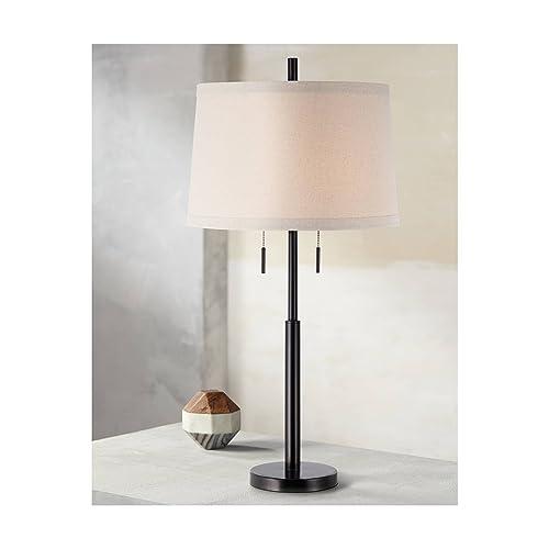 Modern Table Lamp Dark Bronze Metal Column Off White Burlap Shade for Living Room Family Bedroom Bedside – Possini Euro Design