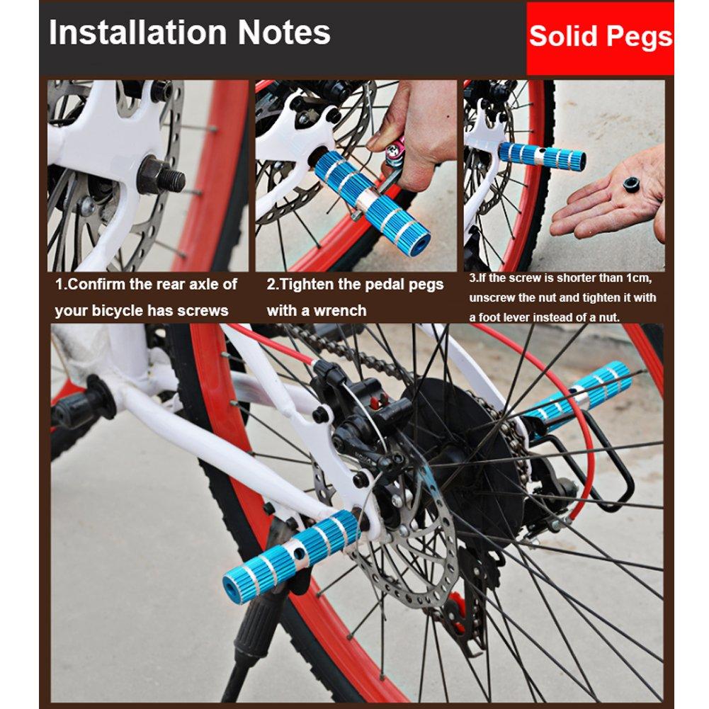 2 Unids Fuerte Aleaci/ón De Aluminio Eje Clavijas de Pie Pedal de Truco BMX Bicicleta de Monta/ña Bicicleta Ciclismo Clavijas,azul