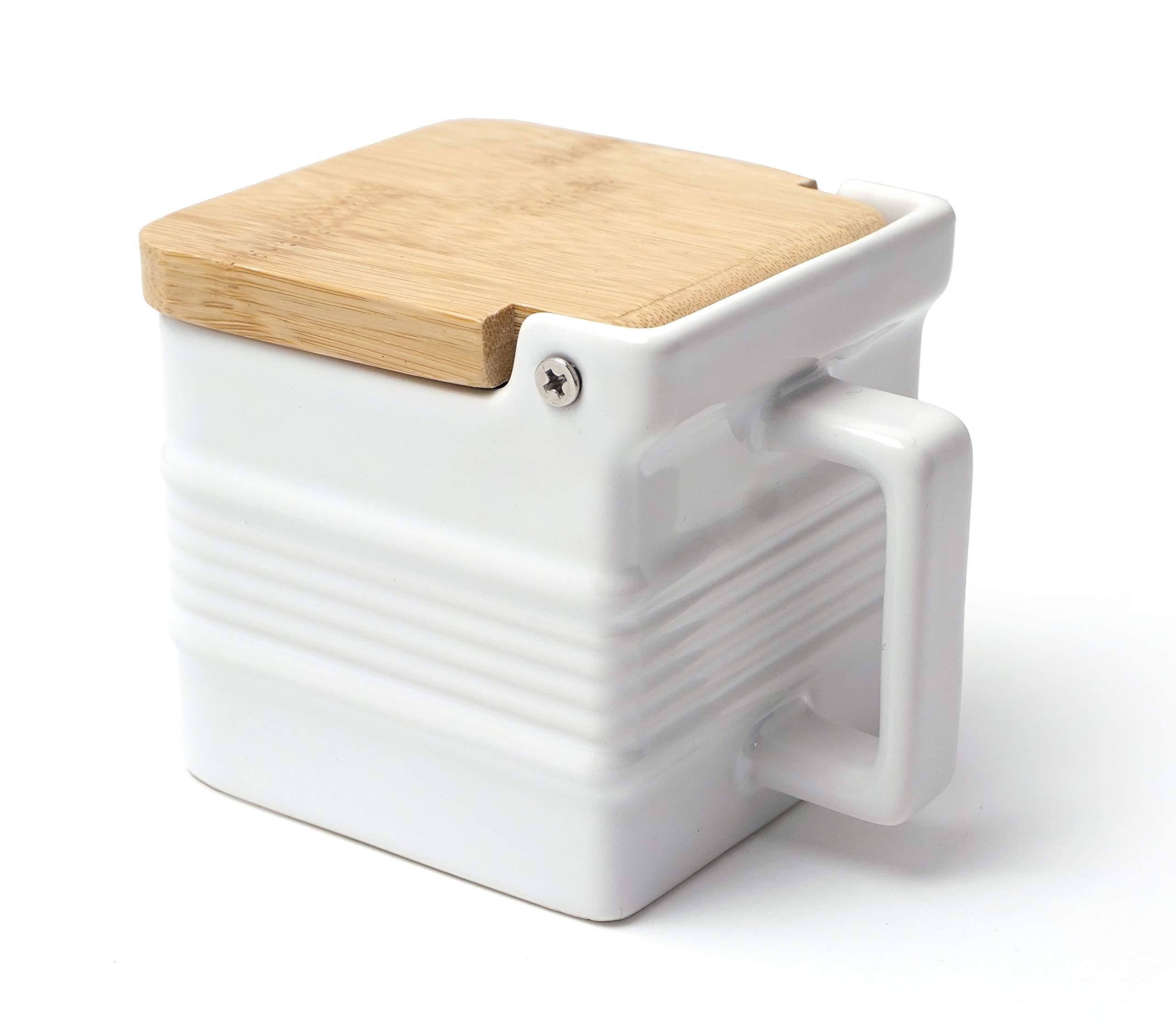 RSVP Stoneware Salt Box - White by RSVP International