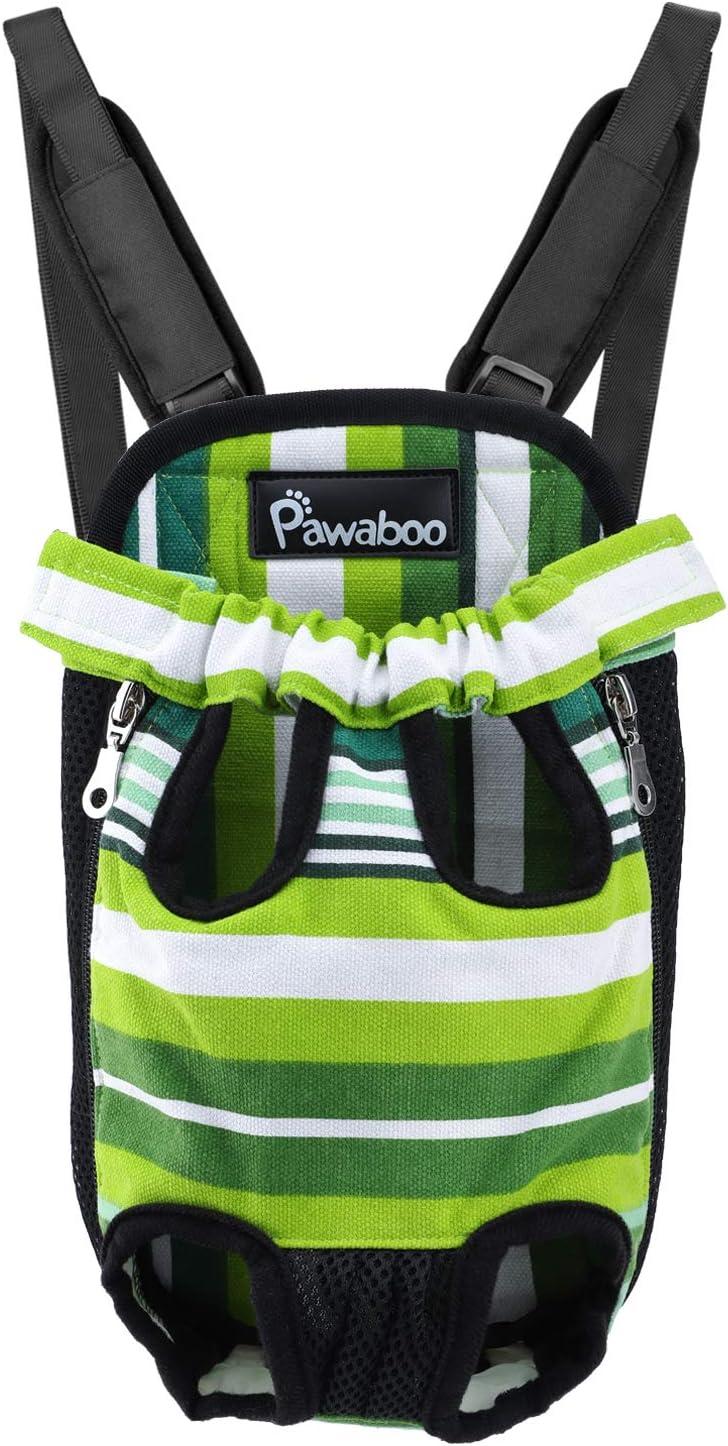 Taglia S Pawaboo Zaino Contenitore per Cane Max.2.5kg Strisce Colorate Passeggiata per Viaggio Borsa Anteriore Regolabile per Portare Cane Campeggio