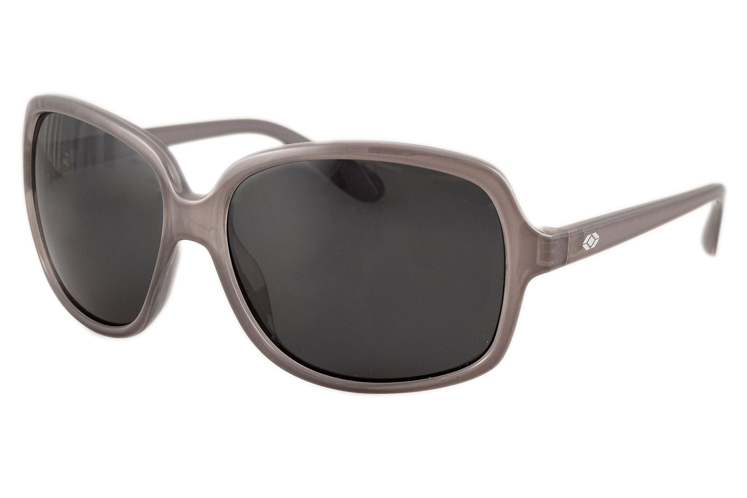 13Fifty Newport Women's Wraparound Fashion Sunglasses, Gray Square Frame, Smoked Polarized UV Protection