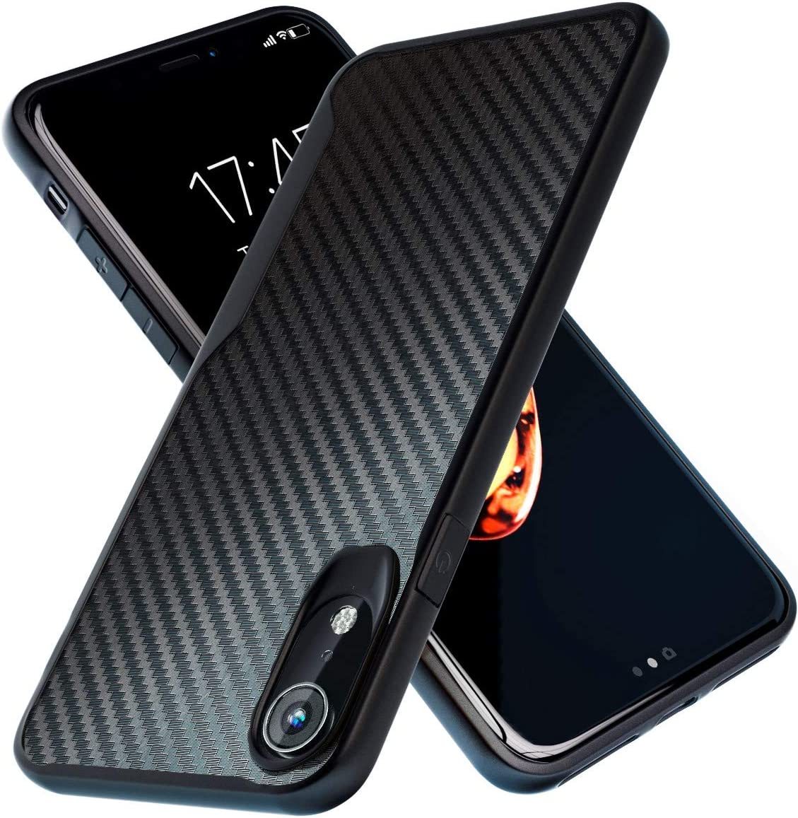 Kitoo Designed for iPhone XR Case, Carbon Fiber Pattern, 10ft. Drop Tested, Wireless Charging - Black