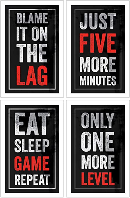 Video Game Posters Set Of 4 11x17 Inches Gaming Artwork Gamer Wall Art Boys Room Kids Print Black Red Amazon Co Uk Kitchen Home