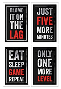 Video Game Posters, Set of 4, 11x17 Inches, Gaming Artwork, Gamer Wall Art, Boys Room Kids Print Black Red