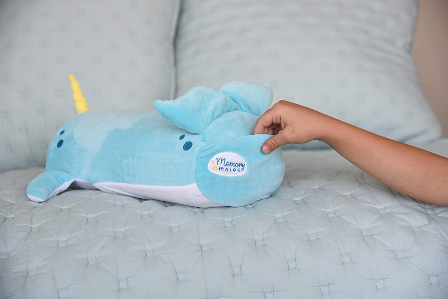"""MEMORY MATES Ruthie The Narwhal Memory Foam Pillow Plush with Kids Diary That Stores in Belly Pocket 6 Journal 15/"""" Stuffed Animal"""