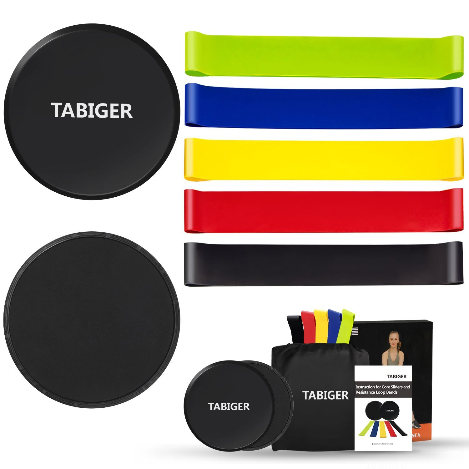 Tabiger Resistance Bands for Legs and Butt, Core Sliders and Resistance Bands Set, 5 Fitness Bands and 2 Gliding Discs with Carry Bag for Sport, Abdominal Exercise, Strengthen, Physical Therapy by Tabiger (Image #1)