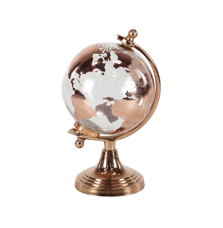 """Deco 79 Modern Glass and Metal Decorative Globe 6""""W x 11""""H Copper, Clear"""