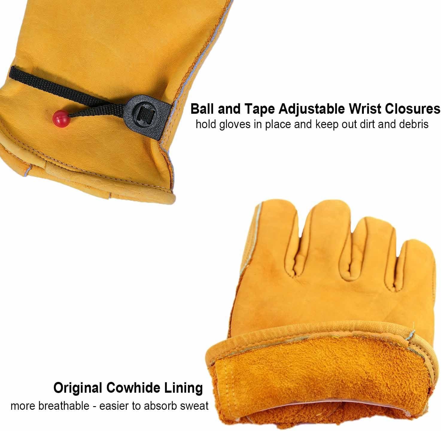 OZERO Arbeitshandschuhe,Lederhandschuhe zum Arbeiten Gartenarbeit