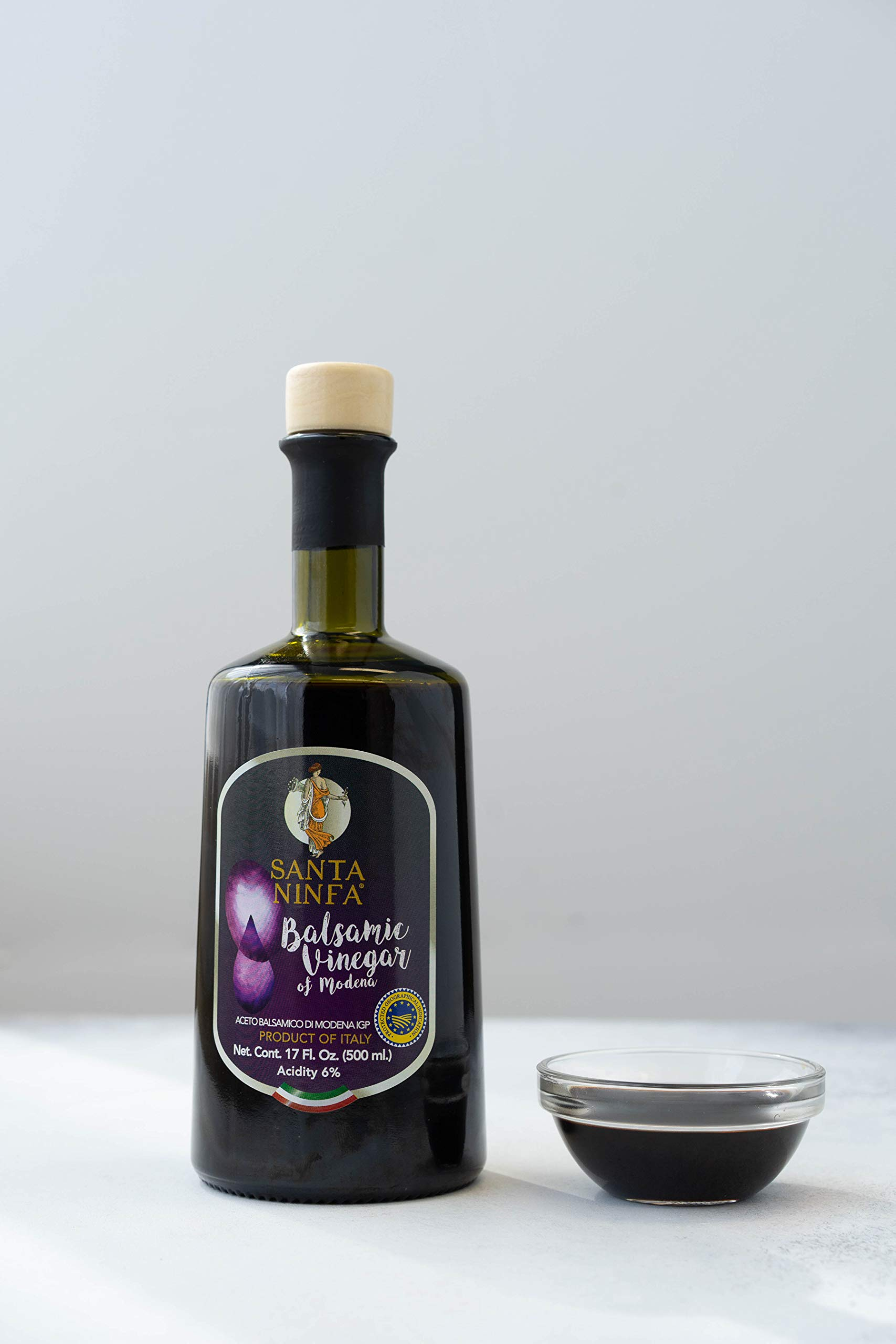 Santa Ninfa Balsamic Vinegar of Modena IGP, 17 Fl Oz Glass Bottle, (Pack of 2) 10 Ships in Amazon Certified Frustration-Free Packaging Pack of two Balsamic Vinegar of Modena, Italy, 17 oz Glass Bottles This Balsamic vinegar is matured in wooden casks to achieve a complex flavor balancing sweetness and acidity.