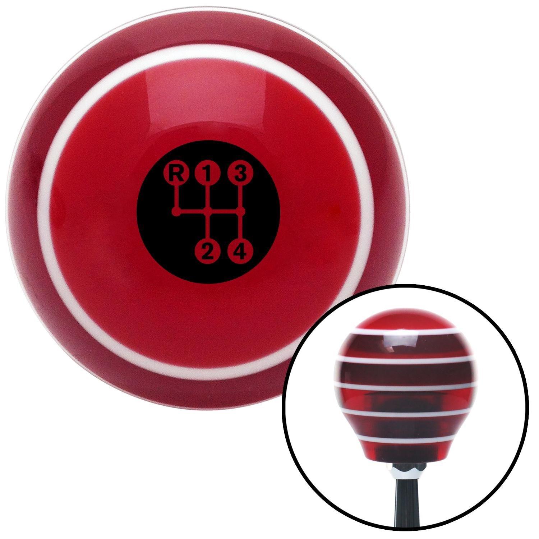 American Shifter 274320 Shift Knob Black 4 Speed Shift Pattern - Dots 3 Red Stripe with M16 x 1.5 Insert