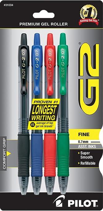 5x Pilot G-2 Pen Refills Black Blue Red Roller Gel 0.38 Extra Fine Tip Great Ink