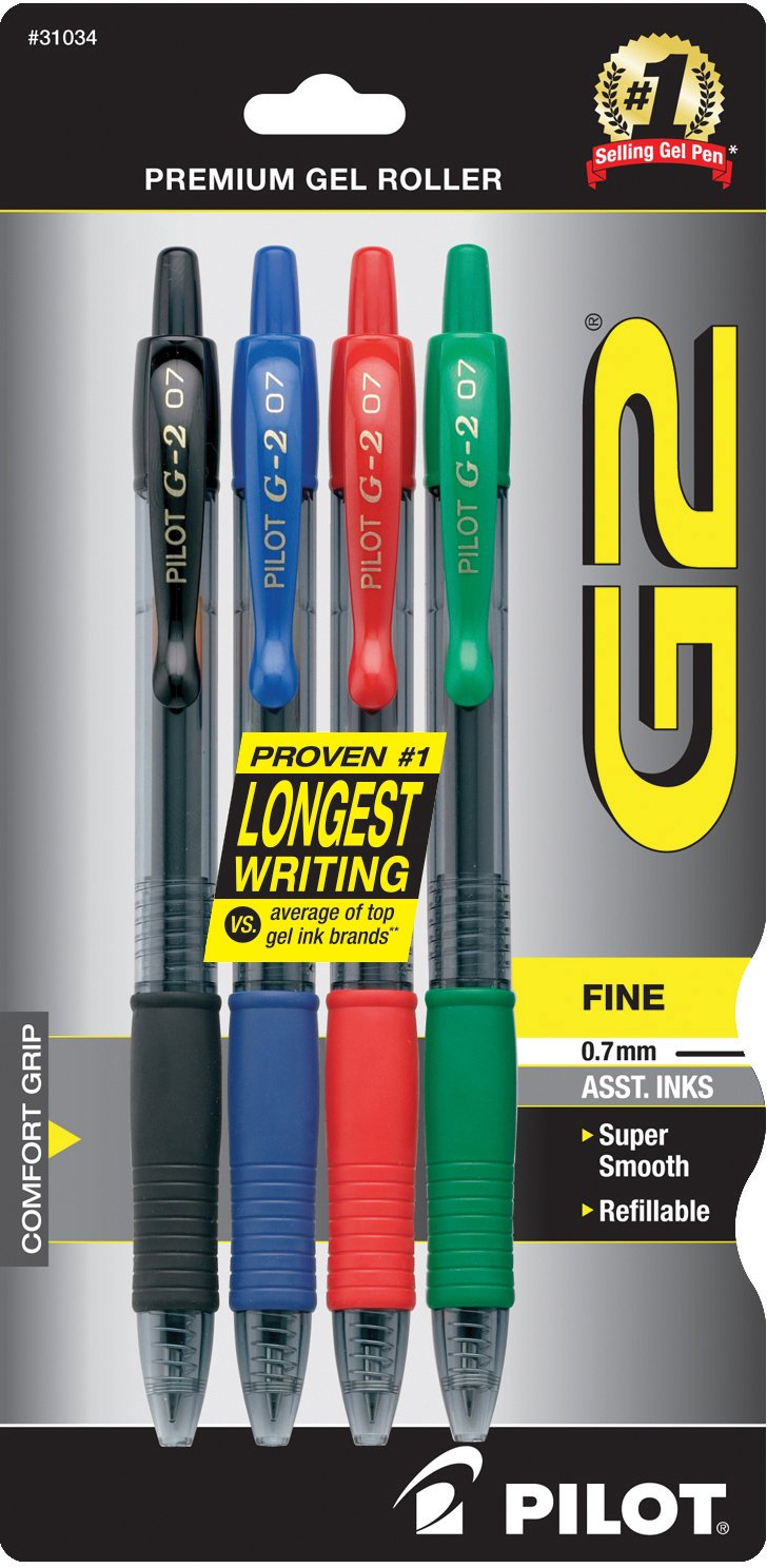 PILOT G2 Premium Refillable & Retractable Rolling Ball Gel Pens, Fine Point, Black/Blue/Red/Green Inks, 4-Pack (31034)