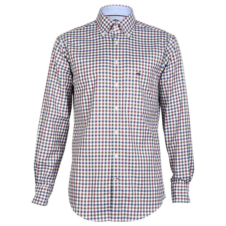Fynch Hatton - Knitwear Combi Check LS Shirt, Green/Red