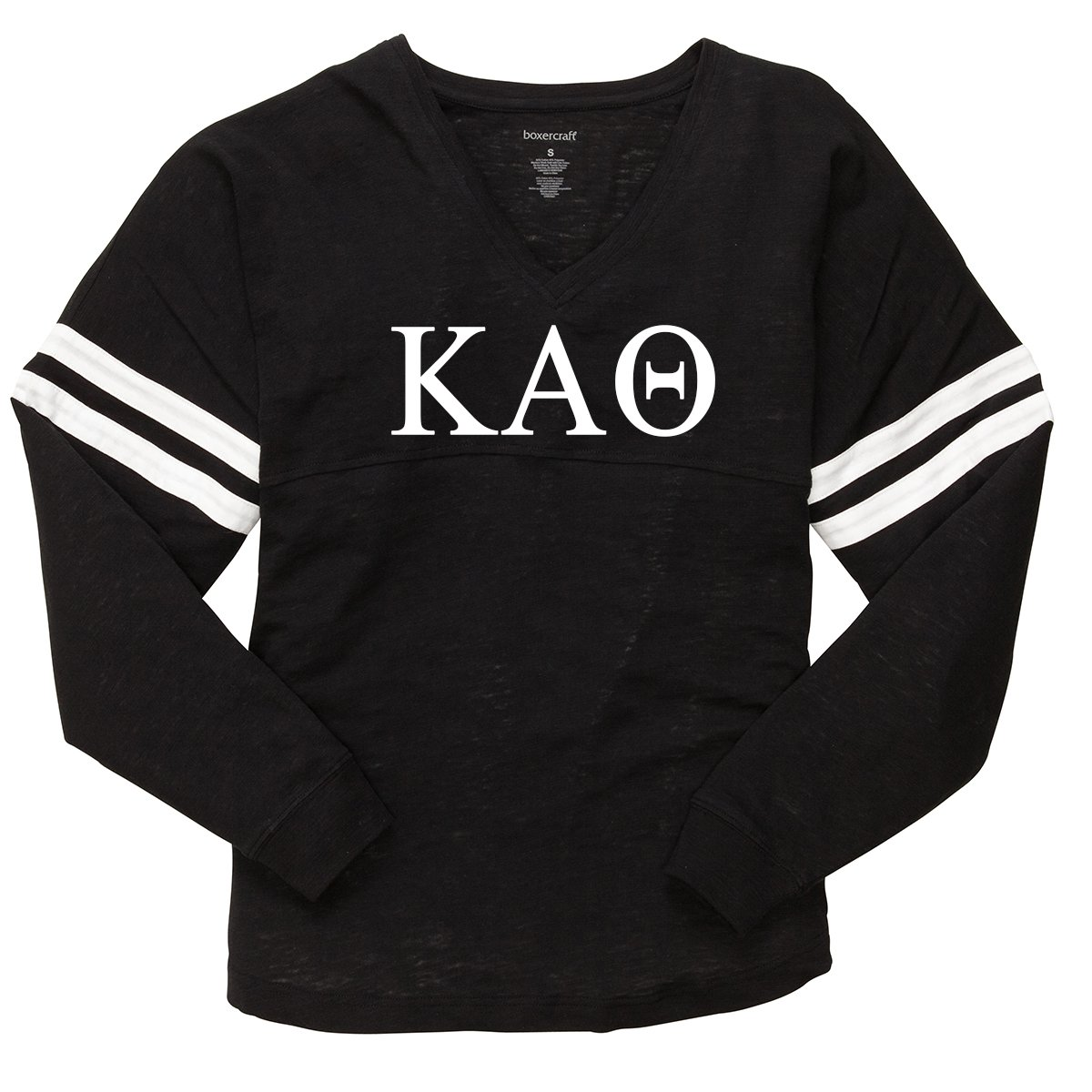 Black Kappa Alpha Theta Varsity Slub Long Sleeve Tee  Black