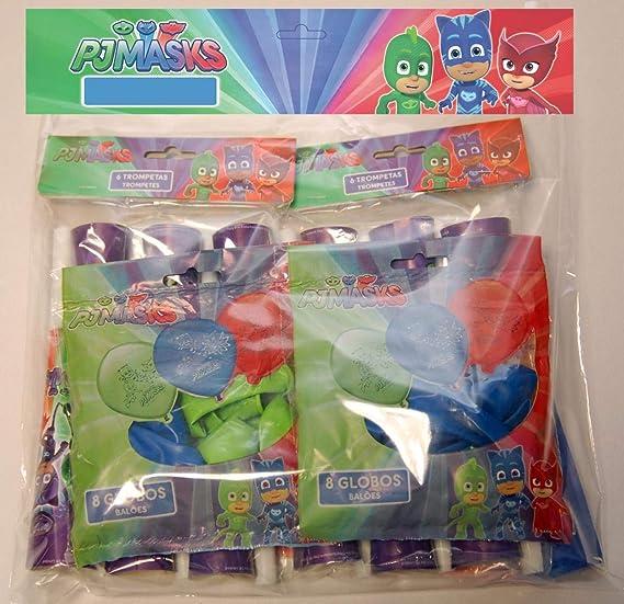 ALMACENESADAN 0471, Pack Decoración Fiesta y cumpleaños PJ Masks, 16 Globos, 12 trompetas, 1 banderin Lady Bug 3 Metros lineales: Amazon.es: Juguetes y ...