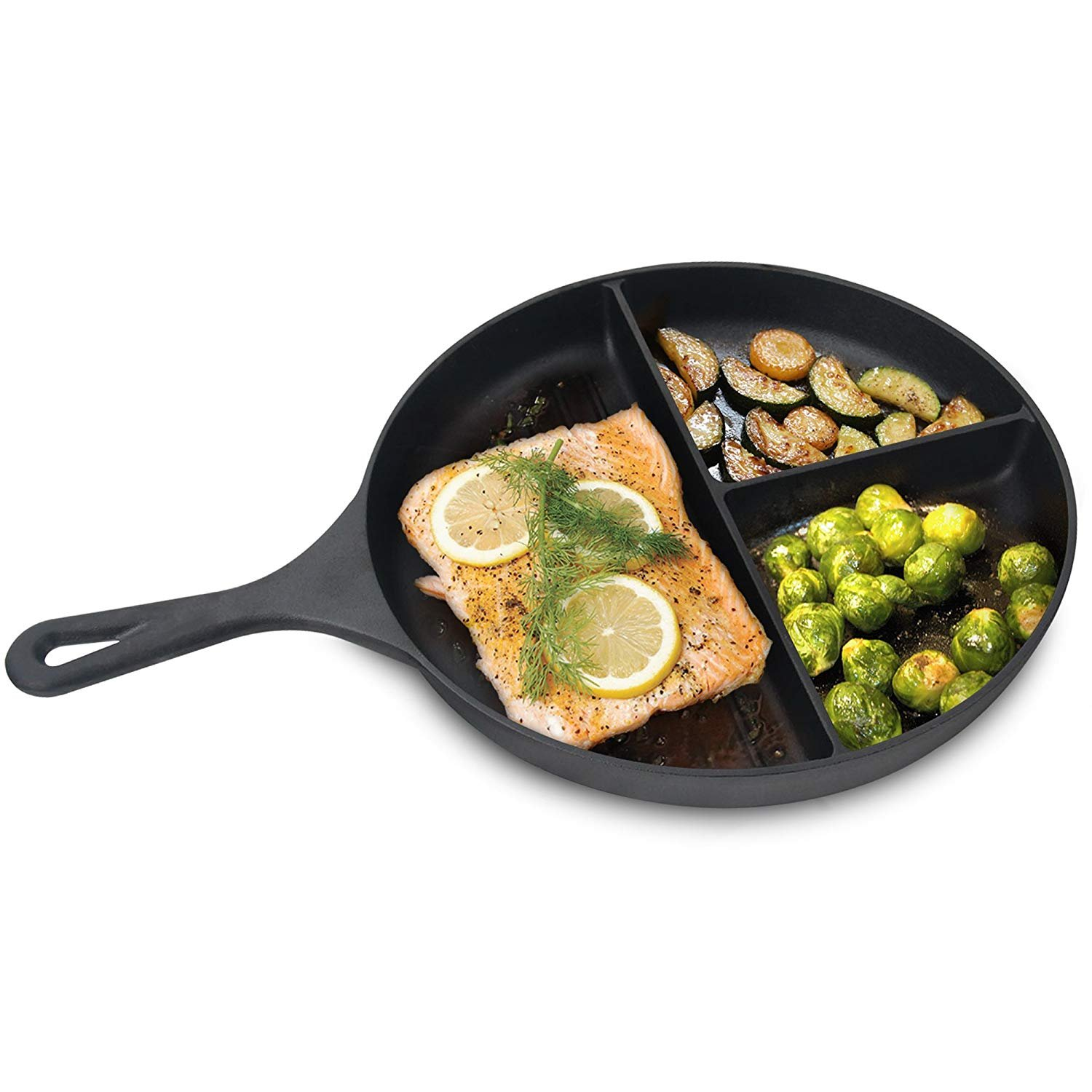 Jim Beam 3 Section Pre-Seasoned Cast Iron Skillet Pan 25cm Inch Divided Pan For Cooking 3 Things At Once   B07FF9QXMD