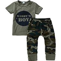Anywow 2 stücke Säugling Kleinkind Baby Jungen Mädchen Brief T-Shirt Tops Camo Hosen Böden Kleidung Set