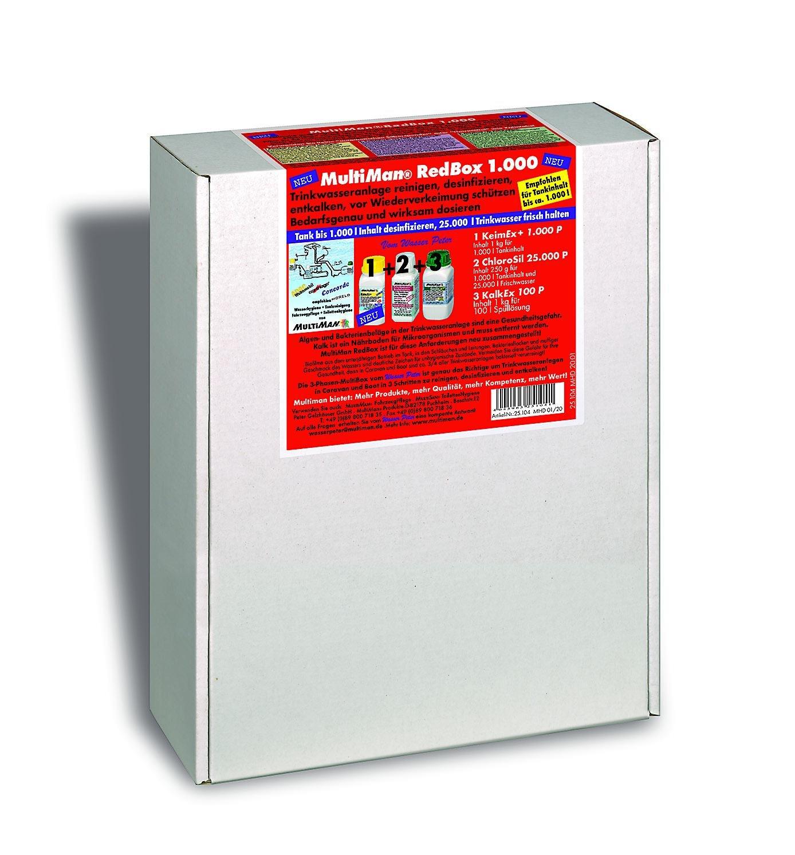 Multiman rotBox zur jährlichen Reinigung von Trinkwasseranlagen (Reinigung, Desinfektion und Entkalkung)