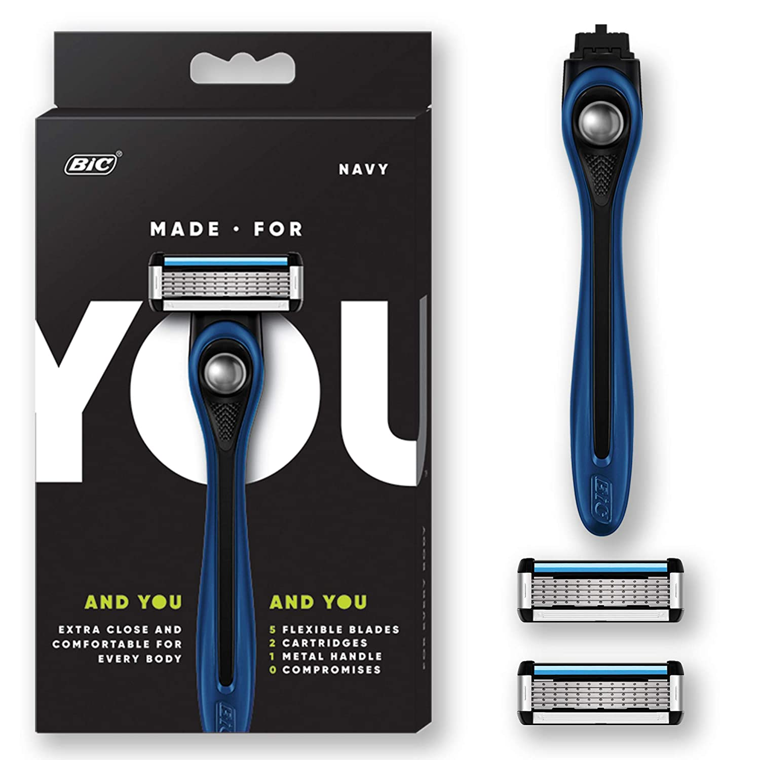 Made For YOU by BIC Shaving Razor Blades for Every Body - Men & Women, with 2 Cartridge Refills - 5-Blade Razors for a Smooth Close Shave & Hair Removal, NAVY, Kit