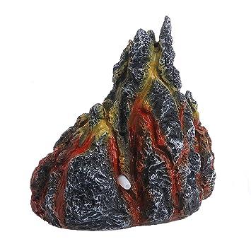 KunmniZ - Figura Decorativa para Acuario con Forma de volcán y Piedra de Burbuja de Aire