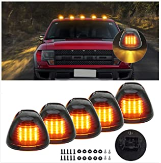 5Pcs Amber Cab Marker Light 12 LED Roof Top Clearance Running Lights w//Wiring Harness Compatible with 1973-1997 Ford F-150 F-250 F-350 F Super Duty Pickup Trucks SUV