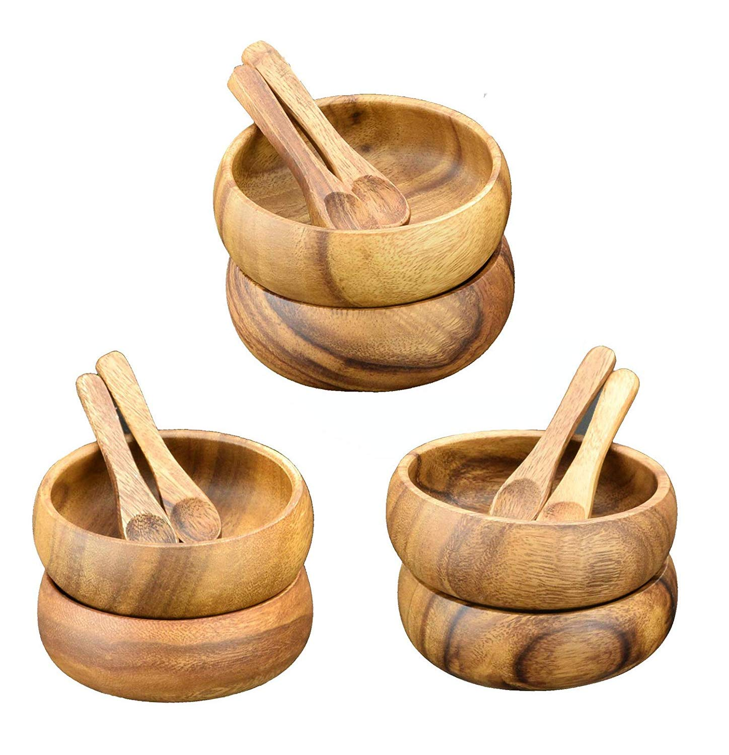 Acaciaware Acacia Wood Dipping and Sauce Bowls, 4-Inch Diam by 1.5-Inch Round Dipping and Nut Bowls with spoons, Set of 6 (12 pcs total)