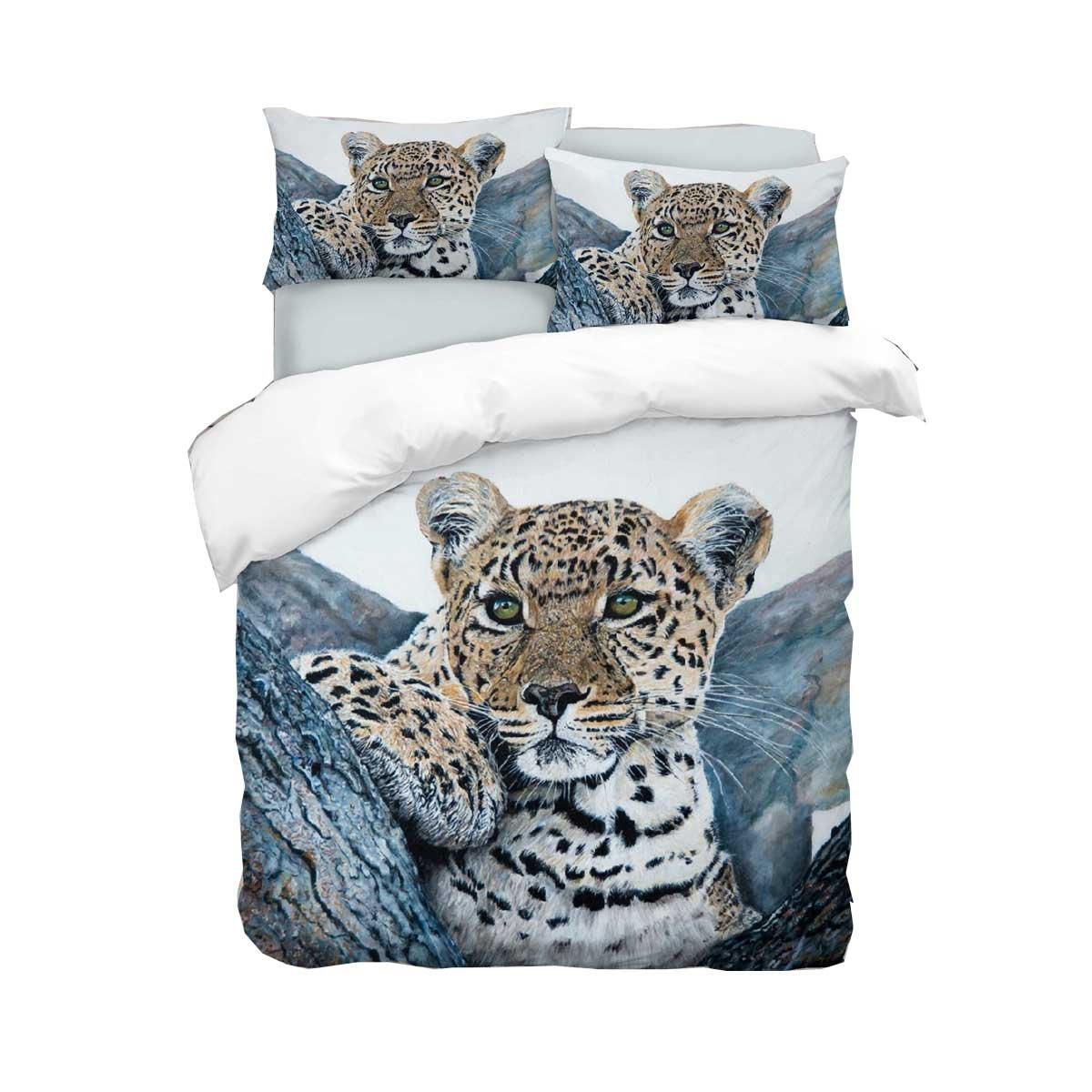 Adam Home 3D Digital Printing Bett Leinen Bettwäsche-Set Bettbezug + 1x Kissenbezug - Leopard (Alle Größen)