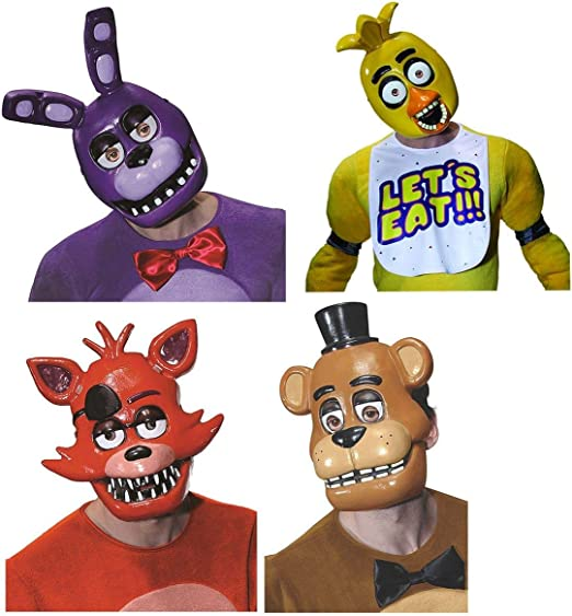 FIVE NIGHTS AT FREDDYS Adult Costume Half Mask Set: Freddy, Foxy, Chica, Bonnie: Amazon.es: Juguetes y juegos