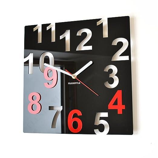3 opinioni per Orologio da parete moderno FANTASY 32cm nero & rosso numeri salotto decorativo
